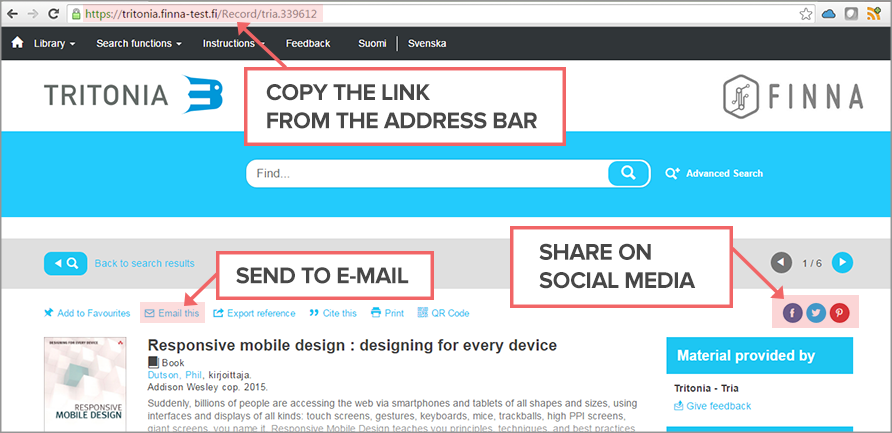 Photo: Sharing link in Finna:  copy the link from the address bar, choose send it to email or share on social media